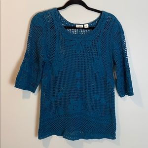 Cato Blue Knit Quarter Sleeve Top
